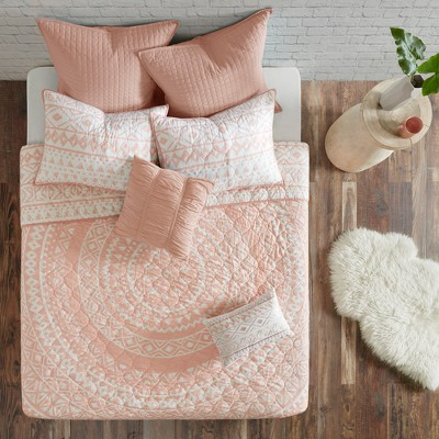 7pc Mica Cotton Reversible Coverlet Set (Full/Queen)Blush