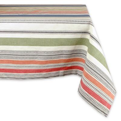 84 x60  Warm Stripe Tablecloth - Design Imports