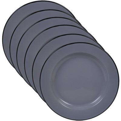 Certified International Steel/Enamelware Dinner Plates 10.3  Gray - Set of 6