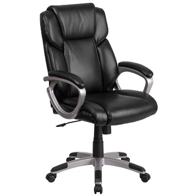 Mid Back Leather Office Chair with Padded Arms - Riverstone Furniture