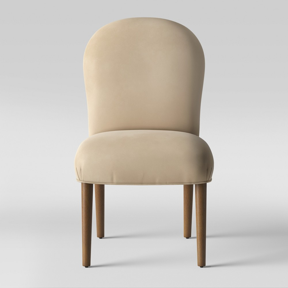Caracara Rounded Back Dining Chair Ivory Velvet - Opalhouse
