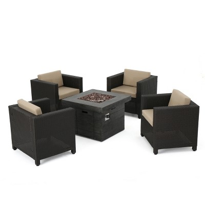 Puerta 5pc All-Weather Wicker Patio Club Chairs with Firepit Brown/Gray - Christopher Knight Home