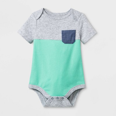 Baby Boys' Short Sleeve Color Block Bodysuit - Cat & Jack™ Green 3-6M