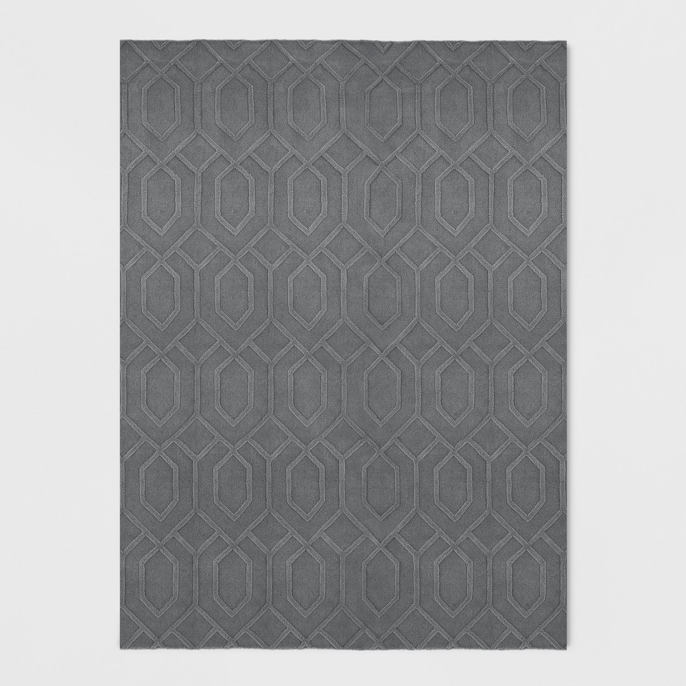 Gray Damask Tufted Area Rug 9'X12' - Project 62