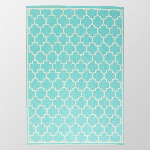 7 10 X 10 Ifran Outdoor Rug Teal Ivory Christopher Knight Home Target