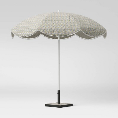 8.5' Scalloped Floral Print with Pom Poms Patio Umbrella Green - White Pole - Opalhouse™