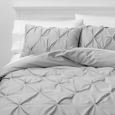 King Pinch Pleat Duvet Cover & Sham Set Pale Gray - Threshold™