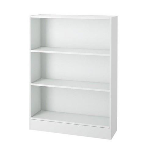 Wood 3 Shelf Wide Bookcase In White Scranton Co