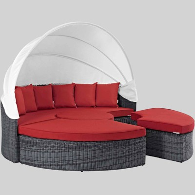 Summon 4pc Canopy Outdoor Patio Sunbrella Daybed - Red - Modway