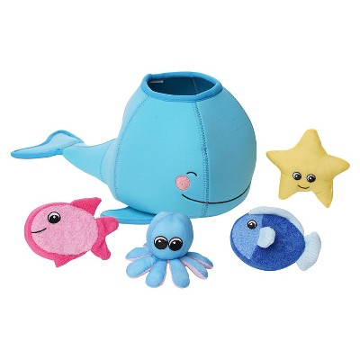 Manhattan Toy Neoprene Whale 5 Piece Floating Spill n Fill Bath Toy with Quick Dry Sponges and Squirt Toy