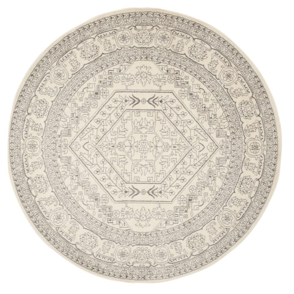 Ivory/Silver Medallion Loomed Round Area Rug 9' - Safavieh