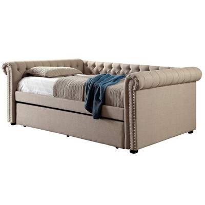 Melly Tufted Upholstered Queen Daybed with Twin Trundle Beige - HOMES: Inside + Out
