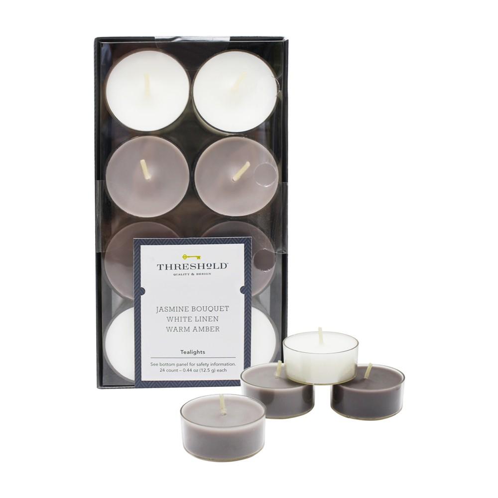Image of .31 24pk Tealight Candle Set Jasmine Bouquet/White Linen/Warm Amber - Threshold