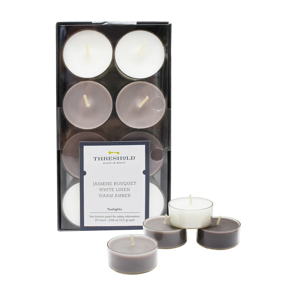 "Image of "".31"""" 24pk Tealight Candle Set Jasmine Bouquet/White Linen/Warm Amber - Threshold , White Gray Brown"""
