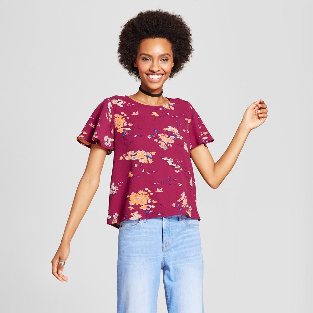 Women's Floral Woven T-Shirt - Xhilaration (Juniors') Berry L, Red