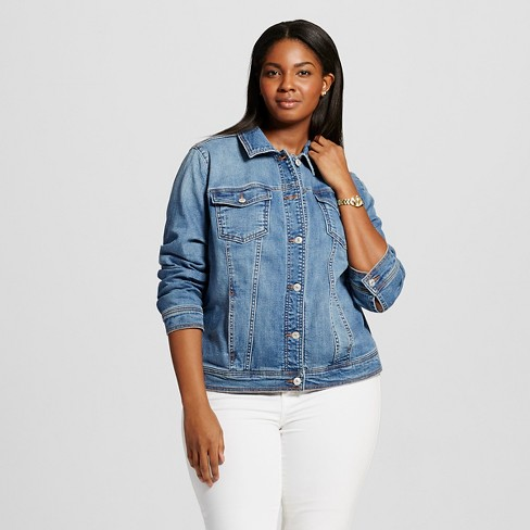 Women s Plus Size Denim Jacket - Ava   Viv™   Target 31e0903f6b