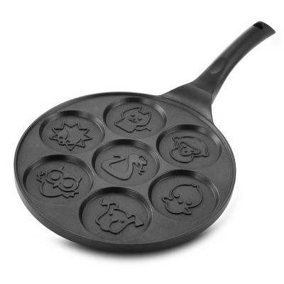 MegaChef Happy Face Emoji 10.5 Inch  Aluminum Nonstick Pancake Maker Pan with Cool Touch Handle