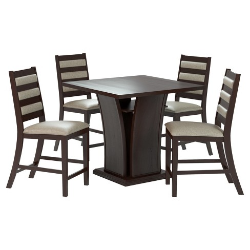 5 Piece Bistro Counter Height Cappuccino Dining Set - CorLiving - image 1 of 4