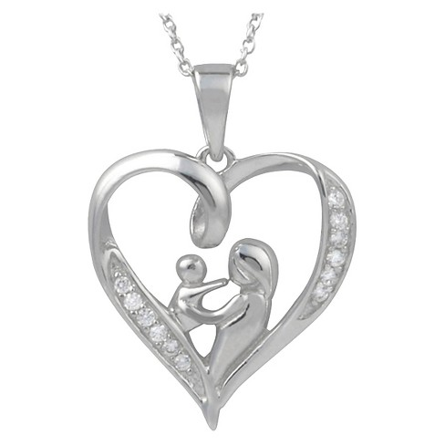 1/5 CT. T.W. Round-Cut Cubic Zirconia Pave-Set Heart Necklace in Sterling Silver - Silver - image 1 of 2