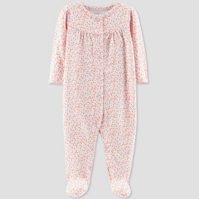 Baby Girls' Floral Print Sleep 'N Play - Little Planet by Carter's Coral Preemie