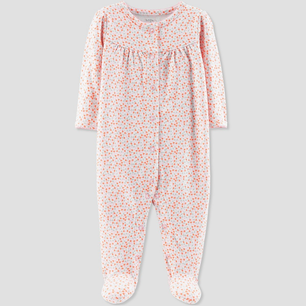 Baby Girls' Floral Print Organic Cotton Sleep 'N Play - Little Planet by Carter's Coral 6M, Pink