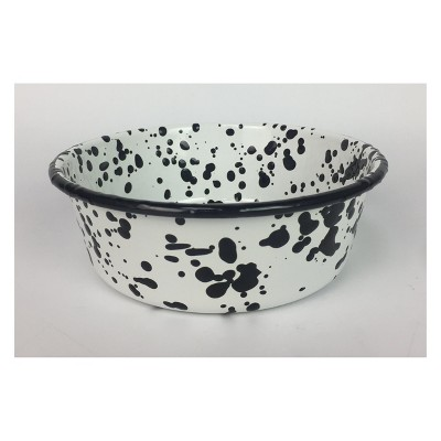 Enameled Metal B&W Splatter Dog Bowls - 6 cups - Boots & Barkley™
