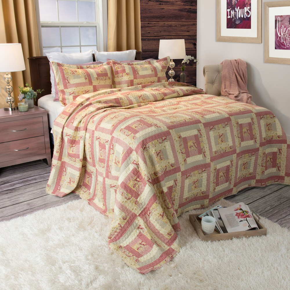Melissa Quilt 3 Piece Set (Full/Queen) - Yorkshire Home, Multicolored