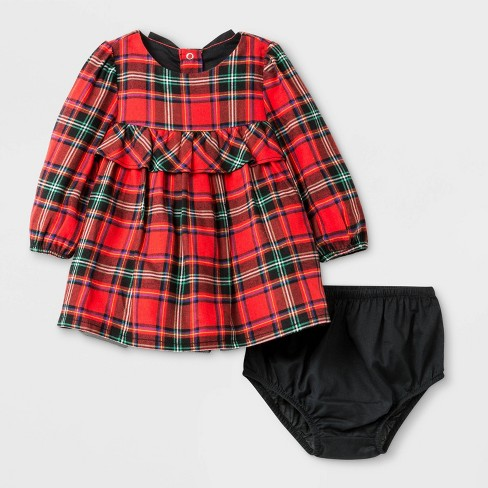 Baby Girls' Long Sleeve Plaid Dress - Cat & Jack™ Red - image 1 of 2
