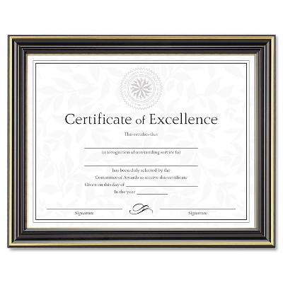 Dax Gold-Trimmed Document Frame w/Certificate Wood 8 1/2 x 11 Black N2709N6T