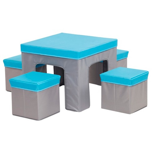 Ecr4kids Multipurpose Folding Kids Table And Chair Set 5 Piece Furniture With Fabric Storage Ottomans