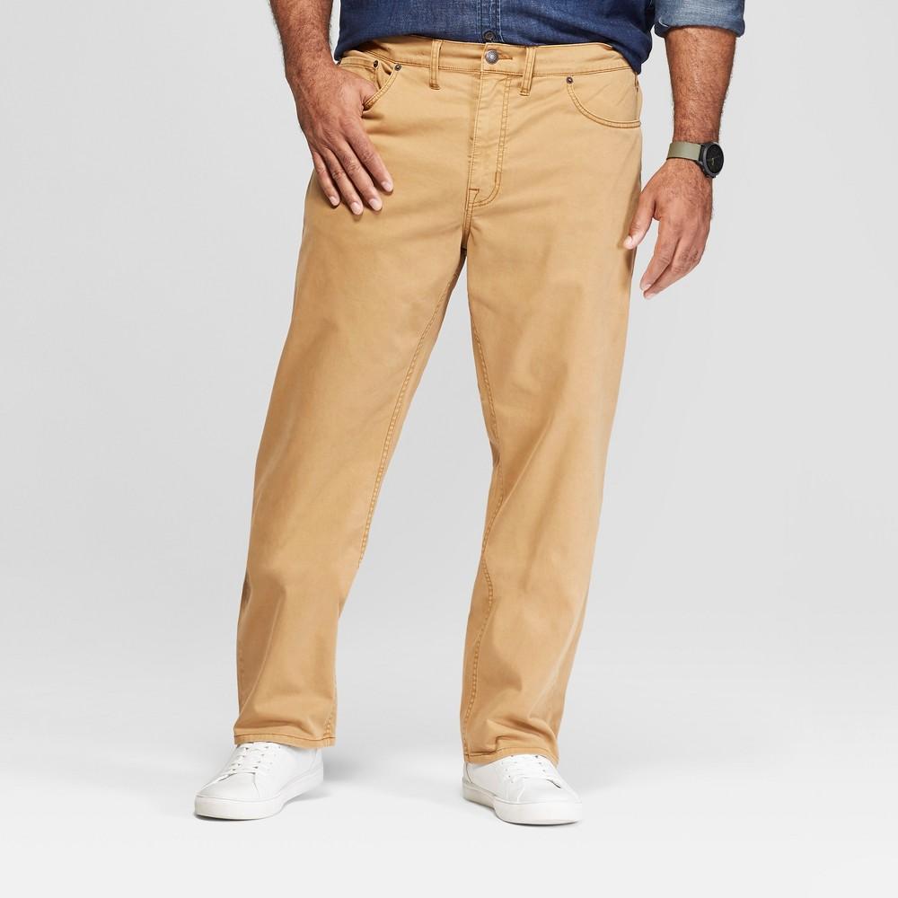 Men's Big & Tall Slim Straight Fit Twill Pants - Goodfellow & Co Khaki 50x32, Brown