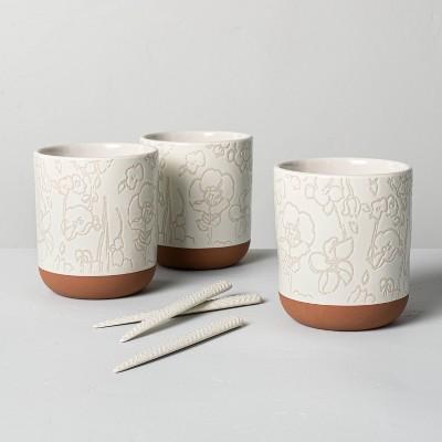 6pc Decorative Stoneware Planter & Marker Set Sour Cream - Hearth & Hand™ with Magnolia