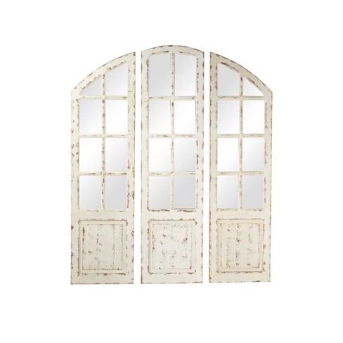 """48"""" x 60"""" Large 3 Panel Arched Wall Mirror with Window Frame White - Olivia & May - image 1 of 3"""