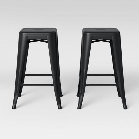 Fine Set Of 2 Carlisle Backless Counter Stool Matte Black Threshold Theyellowbook Wood Chair Design Ideas Theyellowbookinfo