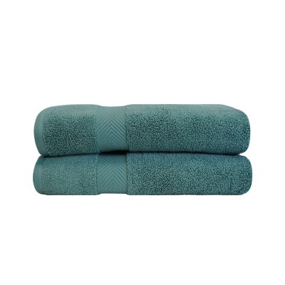 Contemporary Quick-Drying Zero-Twist Cotton 2-Piece Bath Sheet Set - Blue Nile Mills