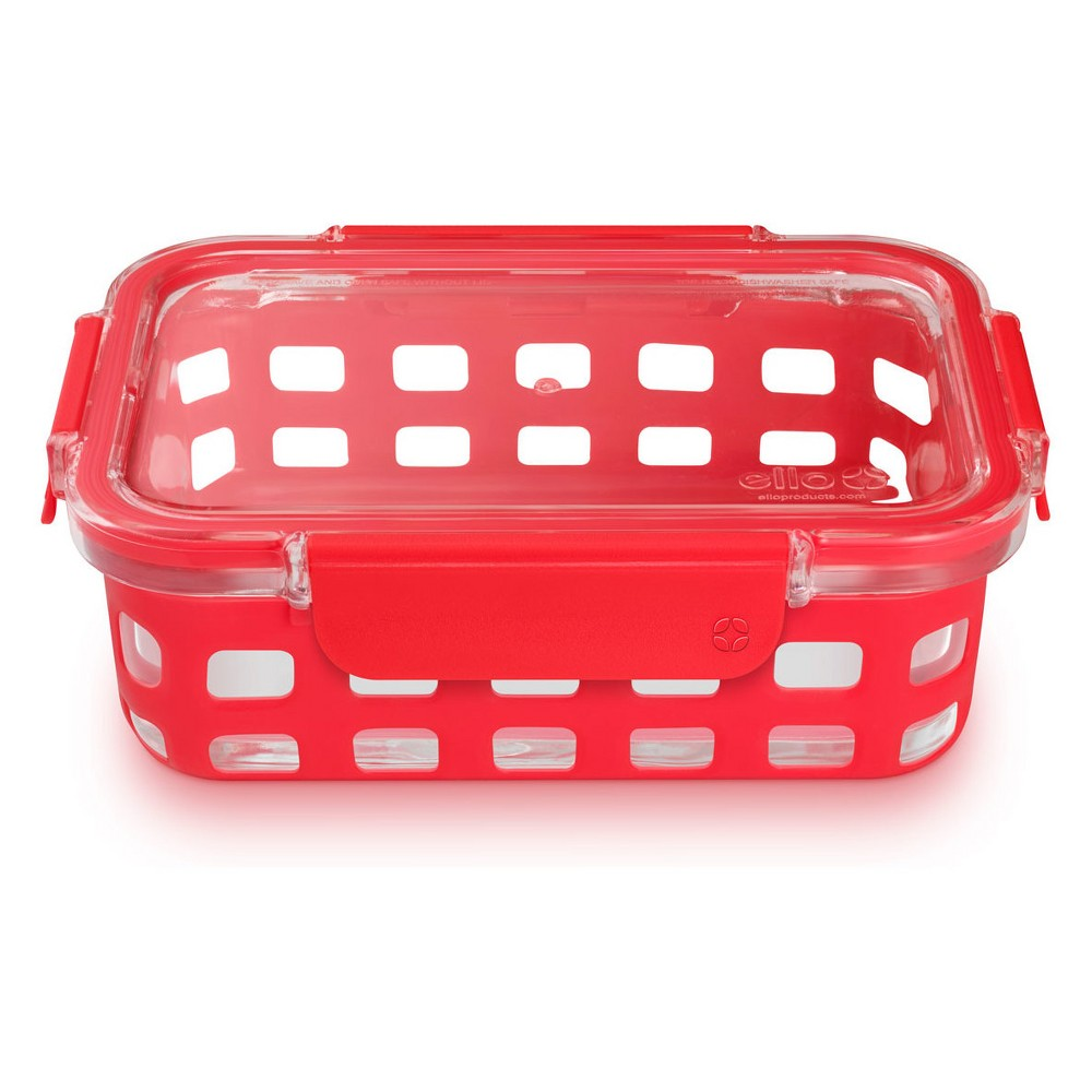 Image of Ello 3.4 cup Glass Food Storage Container, Red