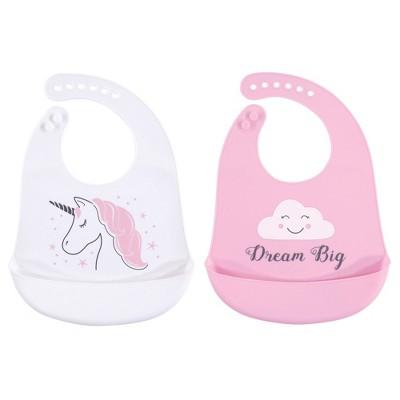 Hudson Baby Infant Girl Silicone Bibs 2pk, Unicorn, One Size