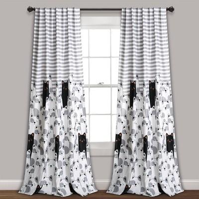 "84""x52"" Set of 2 Striped Bear Room Darkening Window Curtain Panels - Lush Décor"