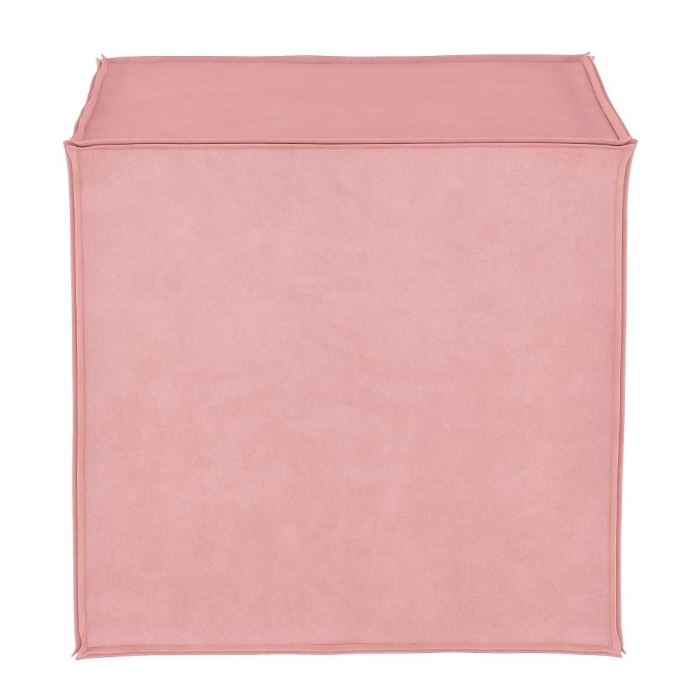 Image of Kids French Seam Ottoman Light Pink Microfiber - Pillowfort
