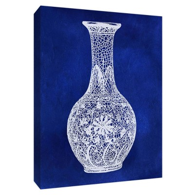 White Lace Vase Gallery Wrapped Canvas - PTM Images