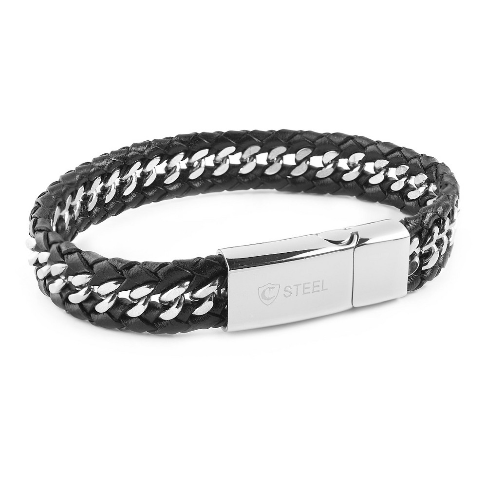 Men's Crucible Stainless Steel Black Braided Leather Curb Link Bracelet, Black/Silver
