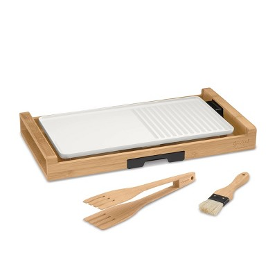 Goodful By Cuisinart Bamboo and Ceramic Full Size Grill and Griddle - White - GG1500GF