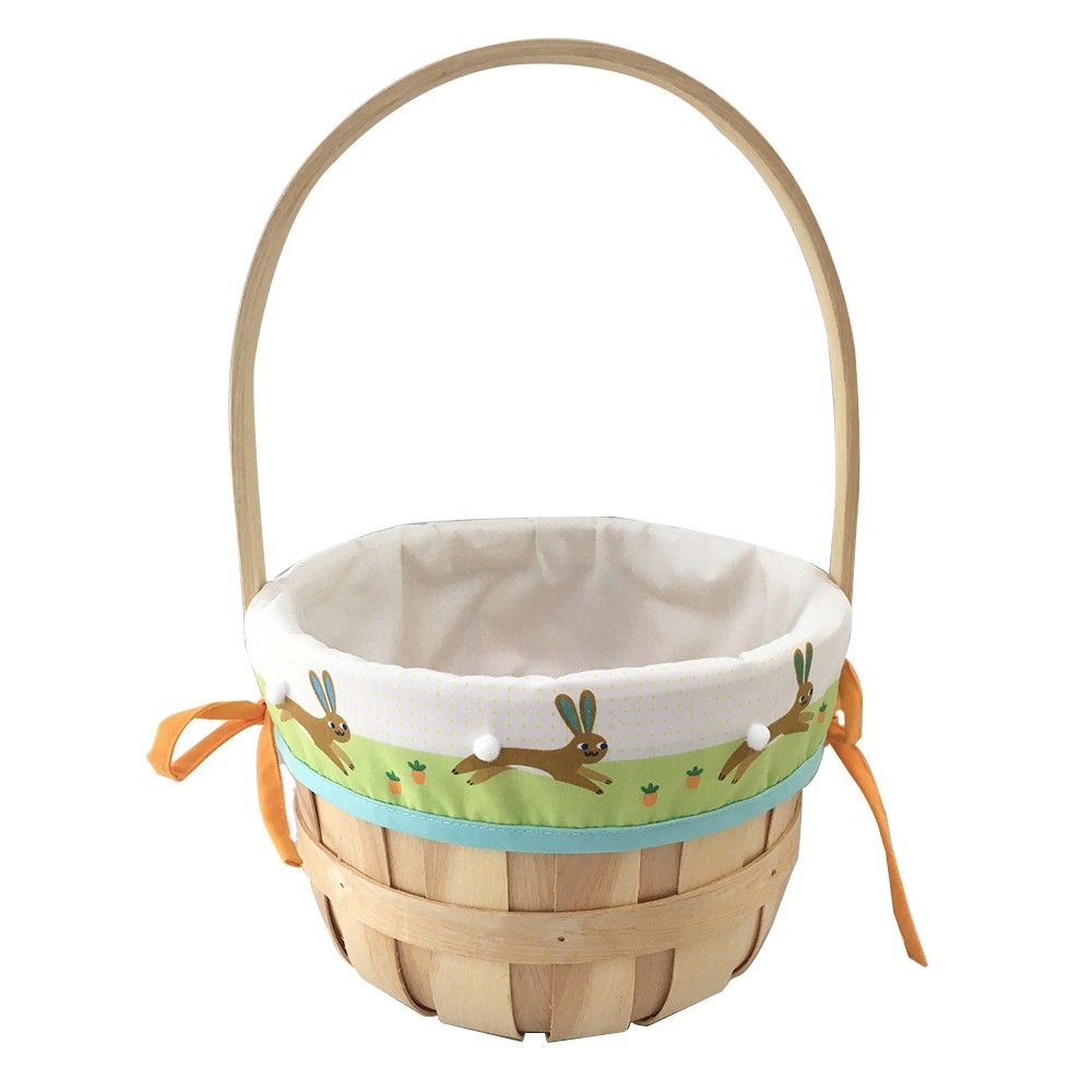 Easter Medium Chipwood Basket with Bunnies Liner - Spritz, Multi-Colored