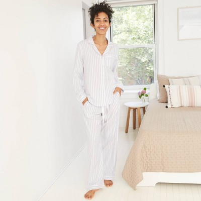 Women's Striped Perfectly Cozy Flannel Long Sleeve Notch Collar Top and Pants Pajama Set - Stars Above™ Gray L