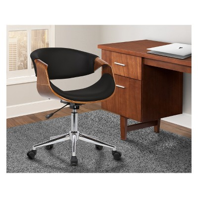 Geneva Mid Century Office Chair In Chrome Finish With Black Faux Leather  And Walnut Veneer Arms   Armen Living : Target