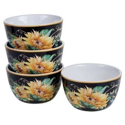22oz 4pk Earthenware Sunflower Fields Ice Cream Bowls - Certified International