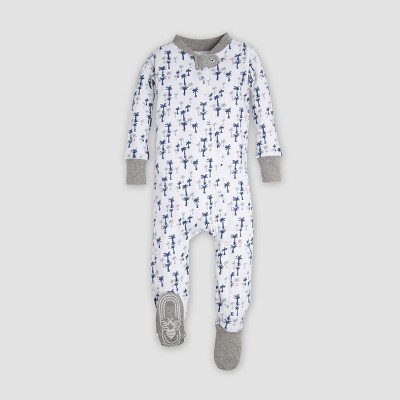Burt's Bees Baby® Organic Cotton 'Breezy Palms' Footed Sleeper - Cloud Newborn