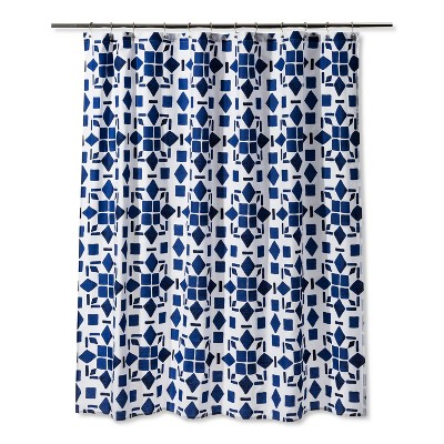 Geometric Shower Curtain Dancing Blue - Room Essentials™