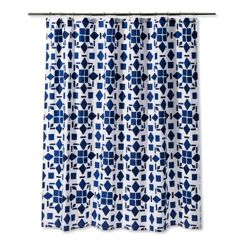 Geometric Shower Curtain Dancing Blue - Room Essentials™ - image 1 of 1