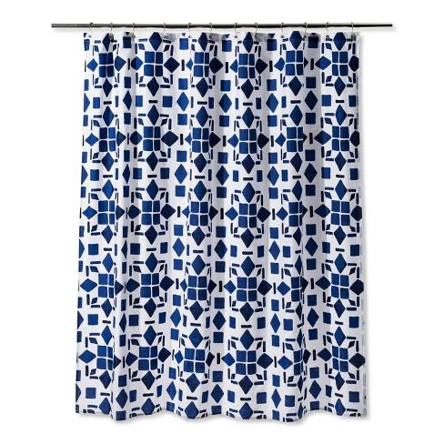 Geometric Shower Curtain Dancing Blue